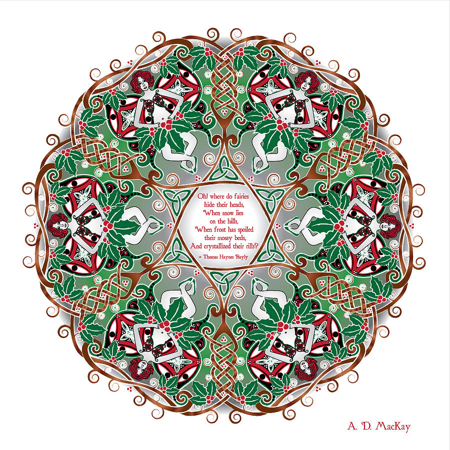 Celtic Winter Fairy Mandala by Celtic Artist Angela Dawn MacKay