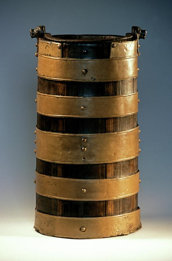 Artifact Photograph - Celtic Wood Bucket by Patrick Landmann/science Photo Library