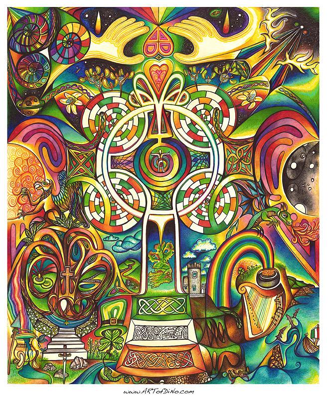 Mandala Drawing - Celtross by DiNo