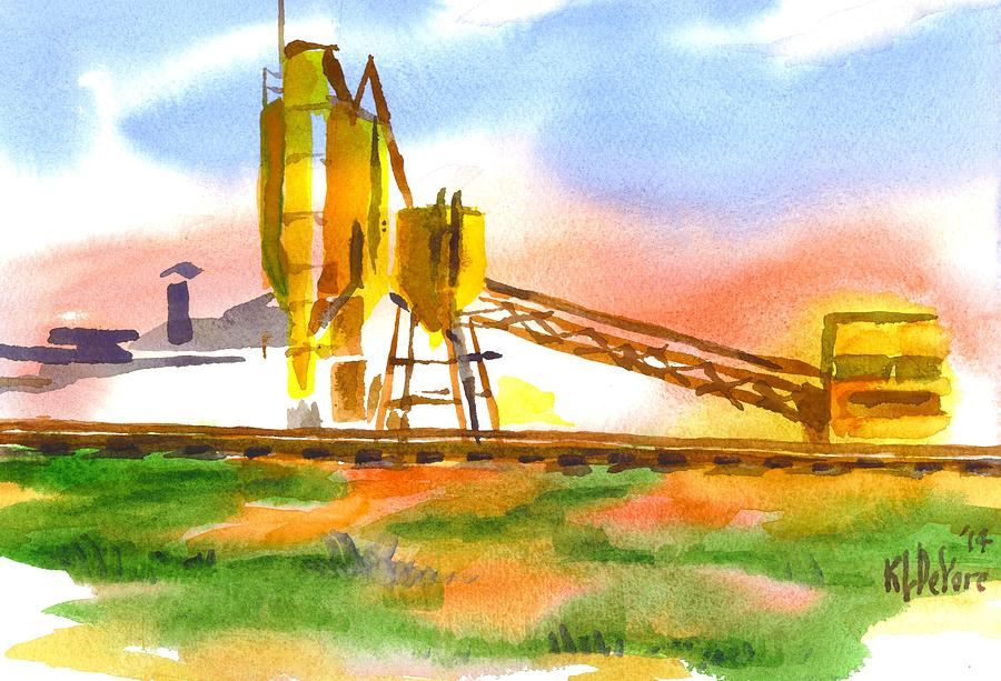 Watercolor Painting - Cement Plant Across The Tracks by Kip DeVore