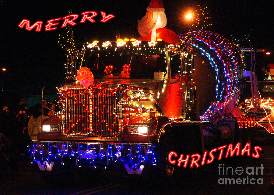 Cement Truck Christmas Card Photograph by Randy Harris