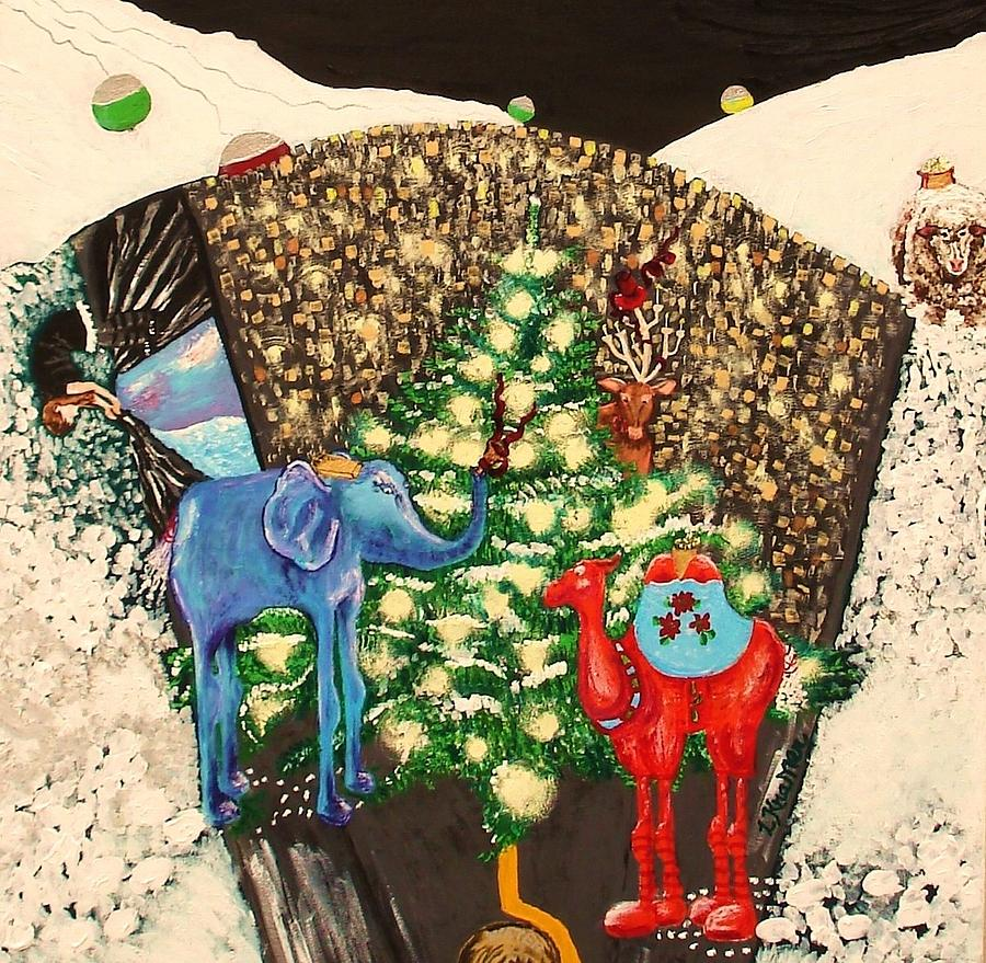 Holiday Cards Painting - Center Of Snow Globe by Lisa Kramer