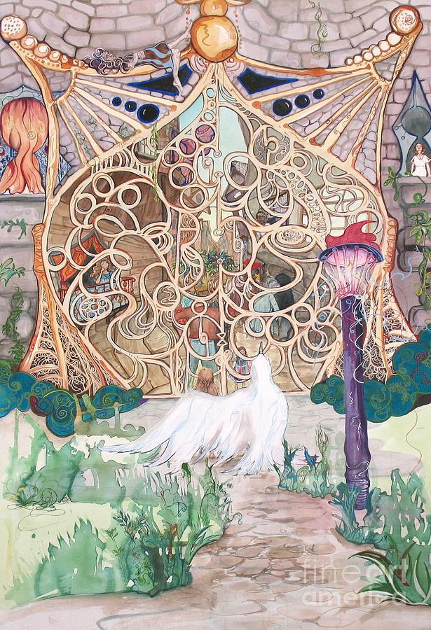 Gate Painting - Center Of The World by Maya Simonson