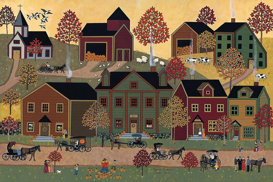 Folk Art Print Painting - Center Street by Medana Gabbard