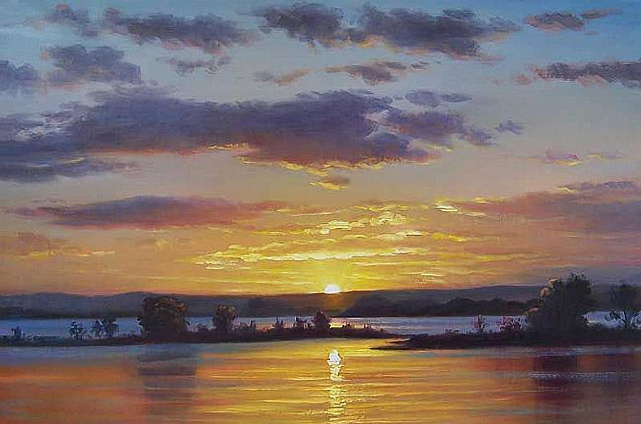 Sunset Painting - Central Coast Sunset by Graham Gercken