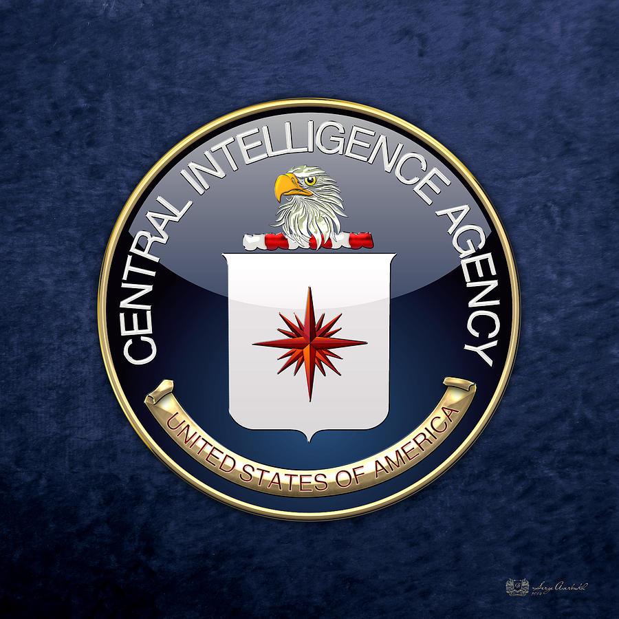 Oga Digital Art - Central Intelligence Agency - C I A Emblem On Blue Velvet by Serge Averbukh