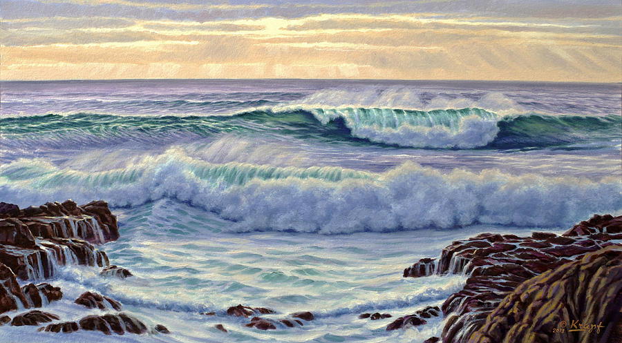 Seascape Painting - Central Pacific Surf by Paul Krapf