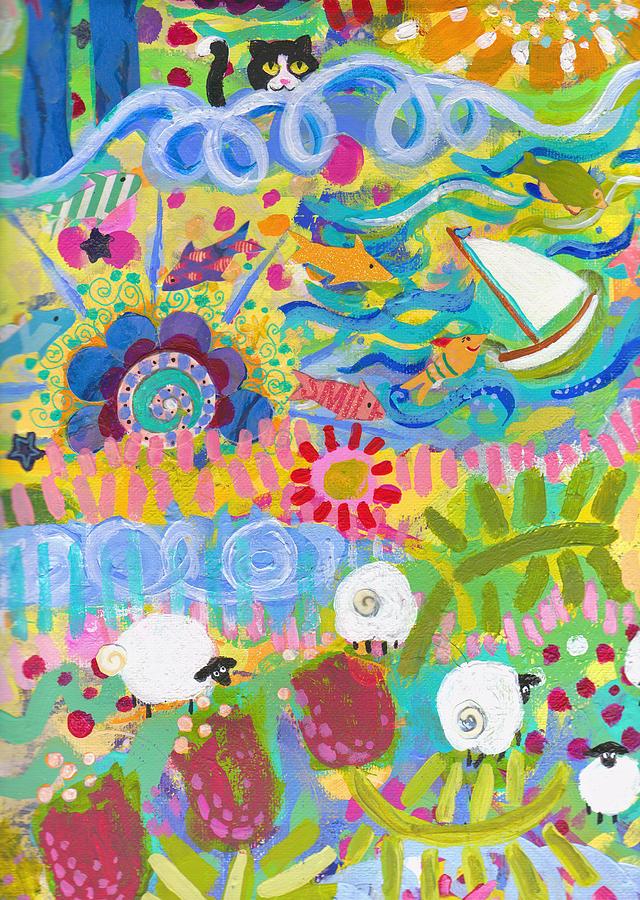 Fun Painting - Central Park Lower Left Side by Deborah Burow
