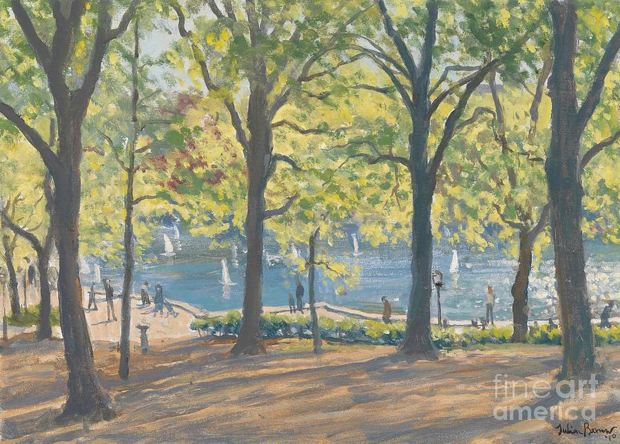 Trees; Nyc; Ny; Manhattan; Pond; America Painting - Central Park New York by Julian Barrow
