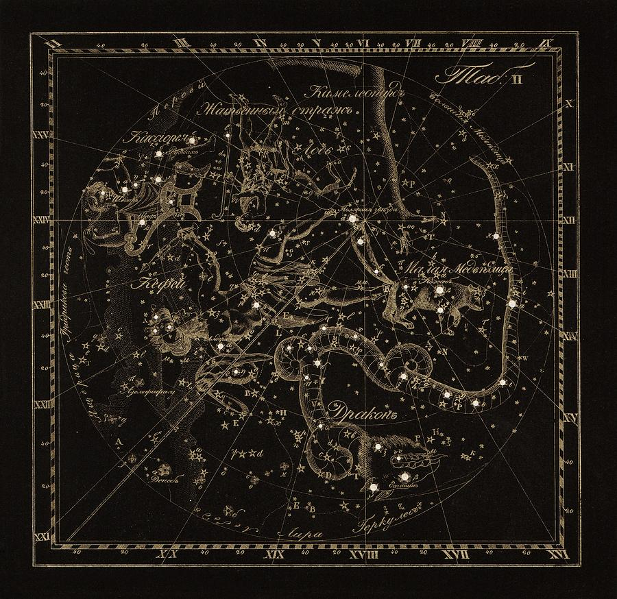 Draco Photograph - Cepheus Constellations, 1829 by Science Photo Library