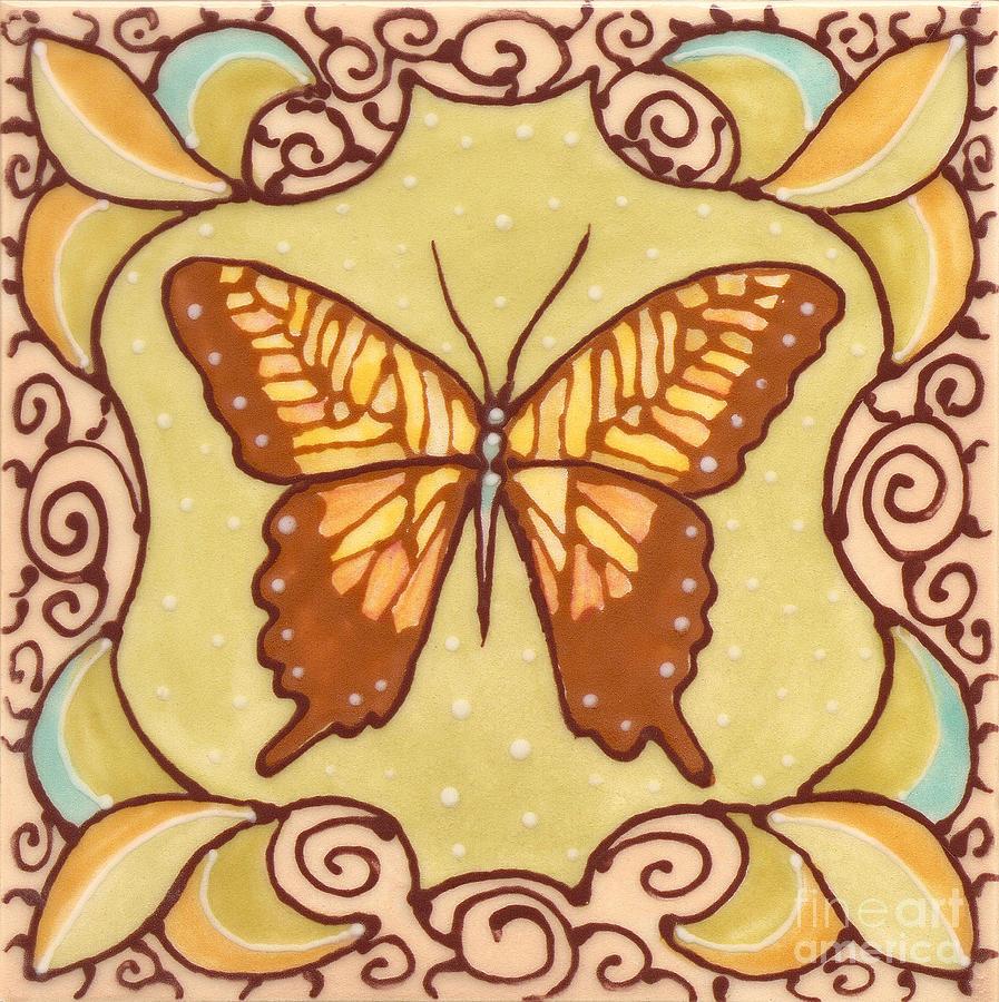 Ceramic Butterfly Painting by Anna Skaradzinska
