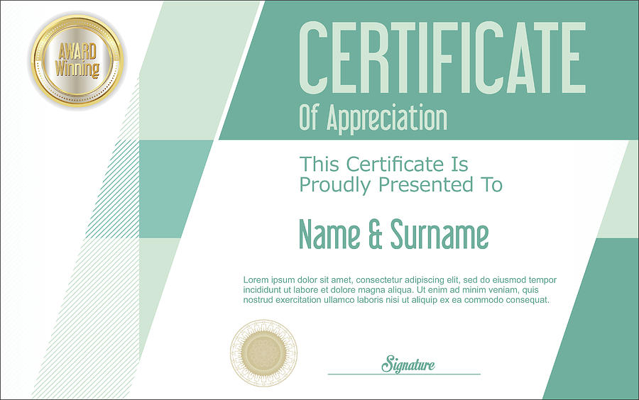 Certificate Template Abstract Geometric Design Background By Totallyout