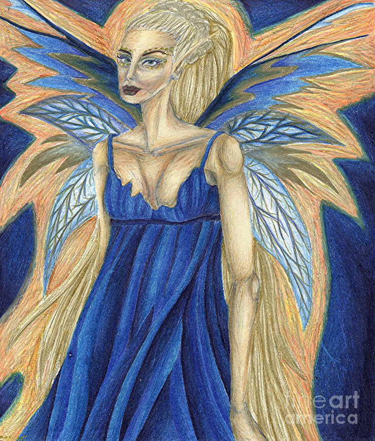 Faery Drawing - Cerulean Queen by Coriander  Shea