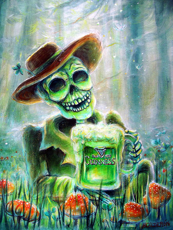 Day Of The Dead Painting - Cerveza Verde by Heather Calderon
