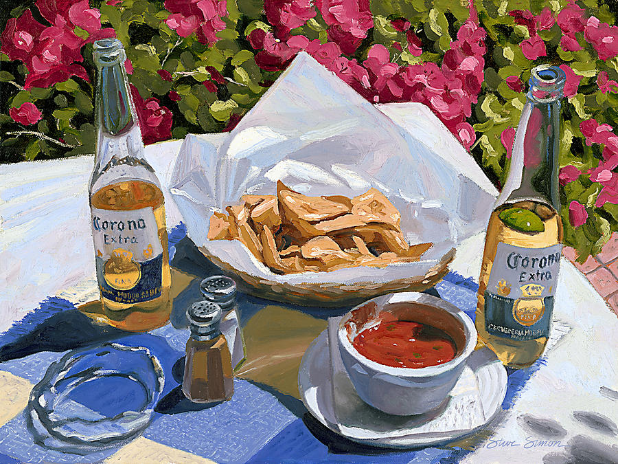 Beer Painting - Cervezas Y Nachos - Coronas With Nachos by Steve Simon
