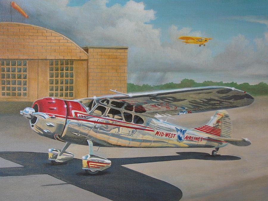 Aviation Painting - Cessna 195 by Stuart Swartz