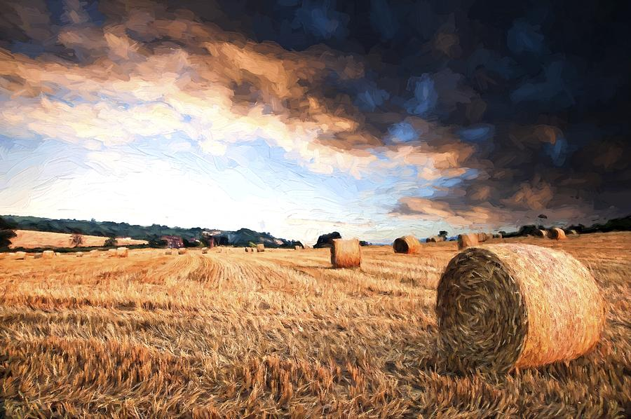 Landscape Photograph - Cezanne Style Digital Painting Beautiful Golden Hour Hay Bales Sunset Landscape by Matthew Gibson