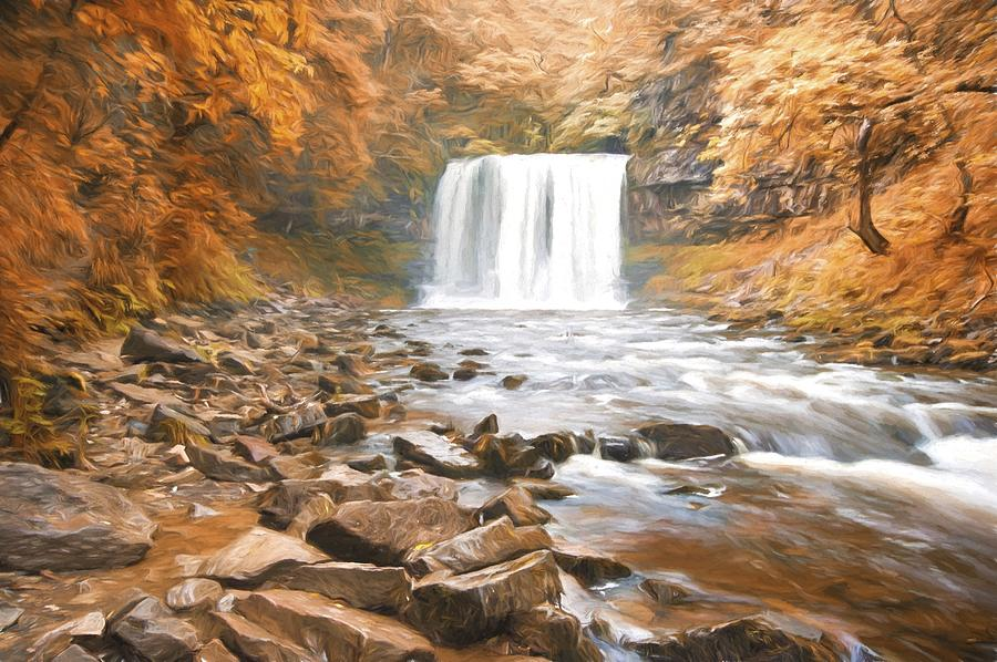 Waterfall Photograph - Cezanne Style Digital Painting Beautiful Woodland Stream And Waterfall In Summer by Matthew Gibson