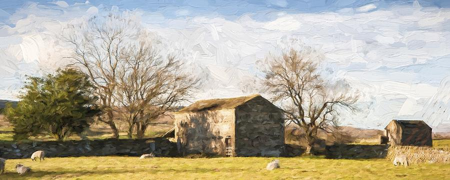 Panorama Photograph - Cezanne Style Digital Painting Panorama Landscape Traditional Stone Barn In Autumnal Countrysid by Matthew Gibson
