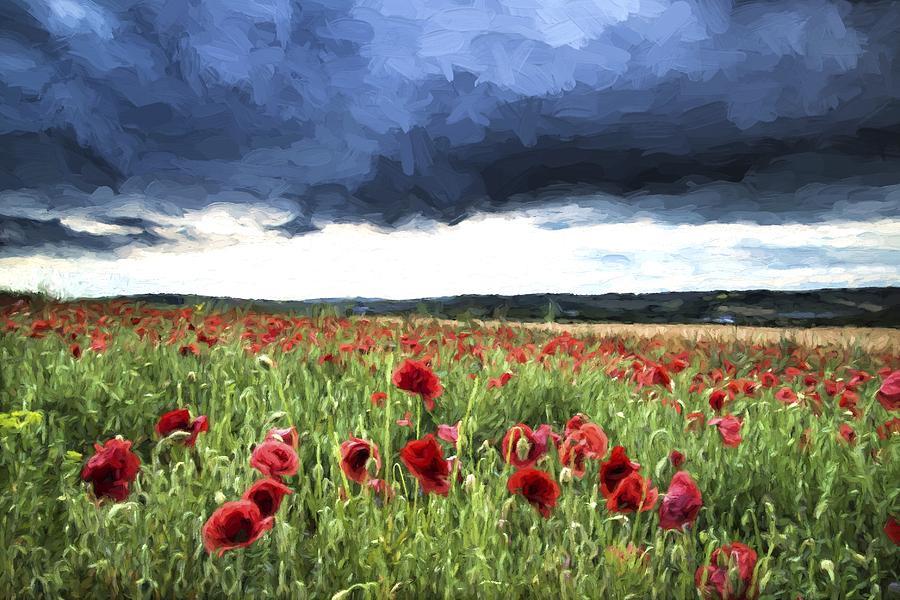 Landscape Photograph - Cezanne Style Digital Painting Stunning Poppy Field Landscape In Summer Sunset Light by Matthew Gibson
