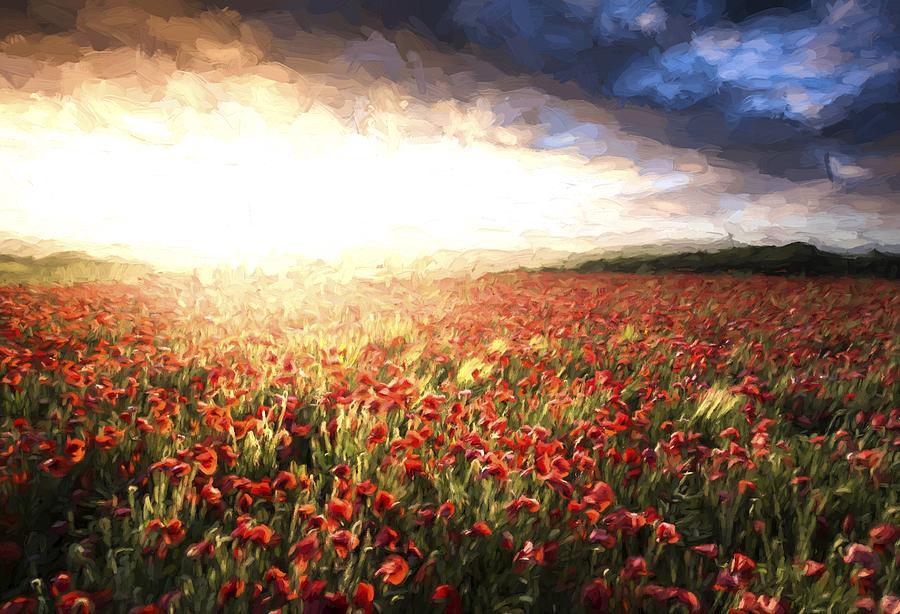 Landscape Photograph - Cezanne Style Digital Painting Stunning Poppy Field Landscape Under Summer Sunset Sky by Matthew Gibson