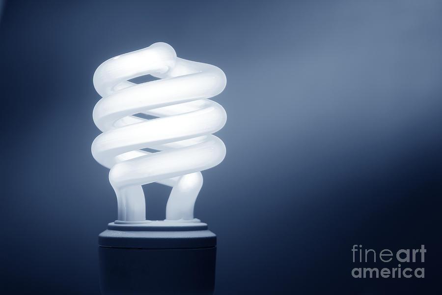 Bulb Photograph - Cfl Blue by Olivier Le Queinec