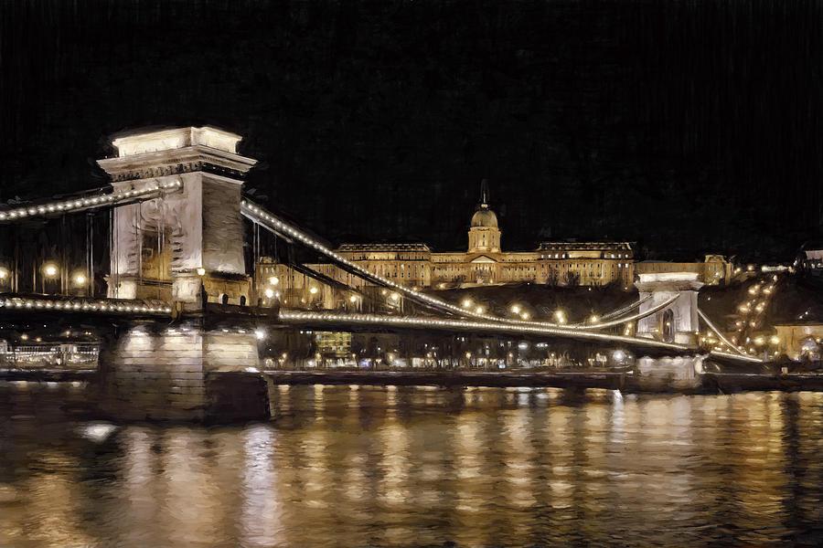 Joan Carroll Photograph - Chain Bridge And Buda Castle Winter Night Painterly by Joan Carroll