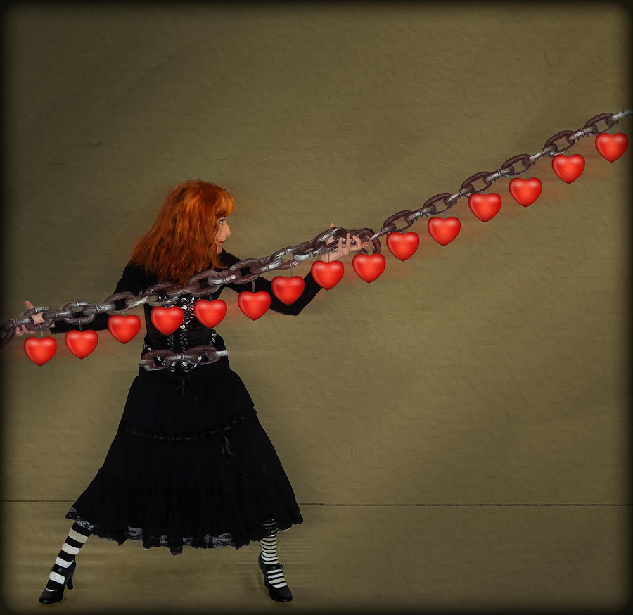 Hearts Digital Art - Chained To A Memory by Hazel Billingsley