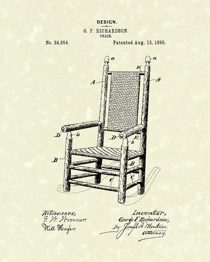 Richardson Drawing - Chair 1895 Patent Art by Prior Art Design