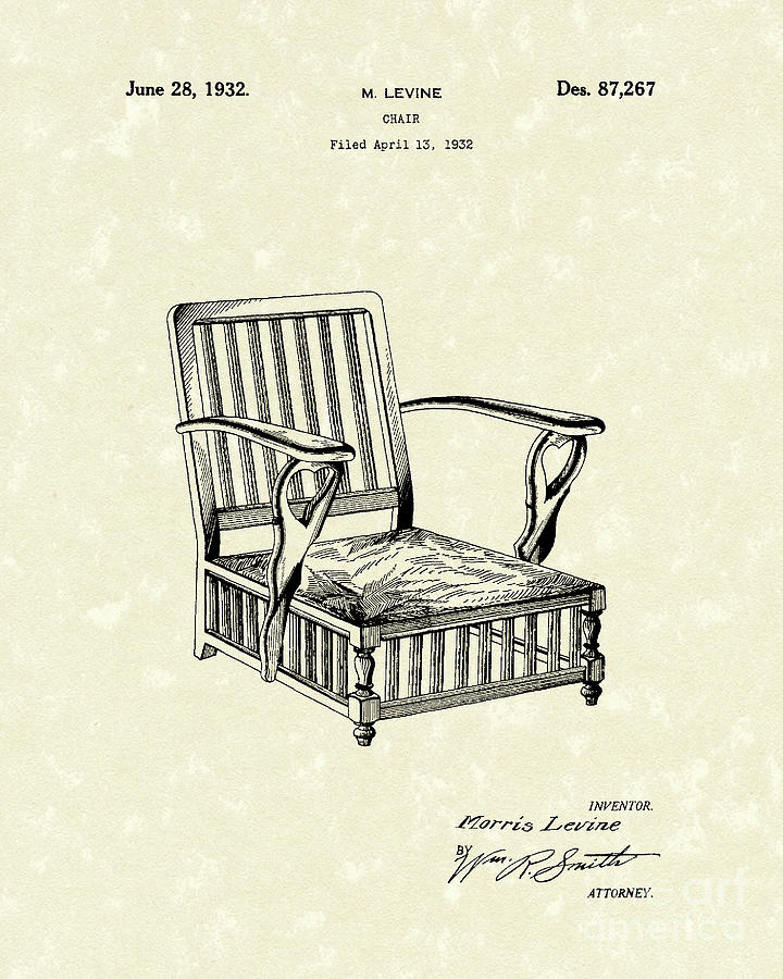 Levine Drawing - Chair 1932 Patent Art by Prior Art Design