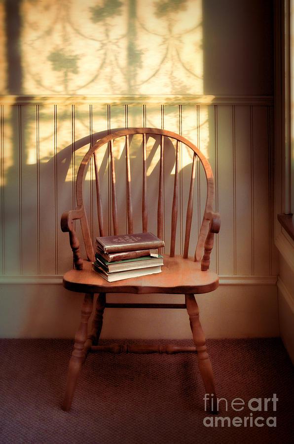 Chair Photograph - Chair And Lace Shadows by Jill Battaglia