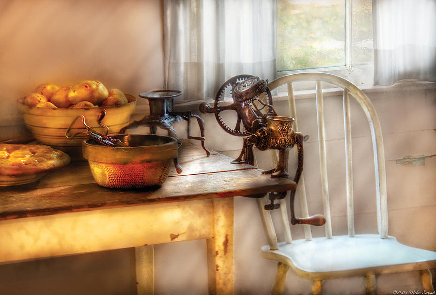 Savad Photograph - Chair - Kitchen Preparations  by Mike Savad