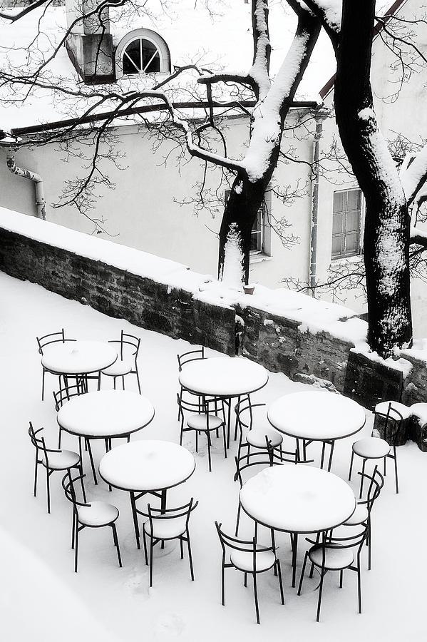 Tallinn Photograph - Chairs And Tables In Snow by Paul Bucknall