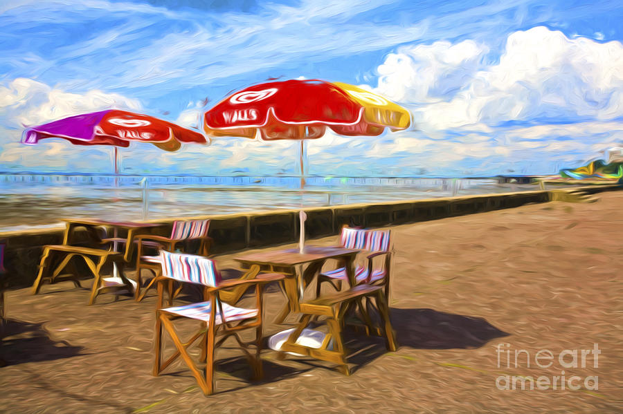 Southend On Sea Photograph - Chairs and umbrellas at Southend on Sea by Sheila Smart Fine Art Photography