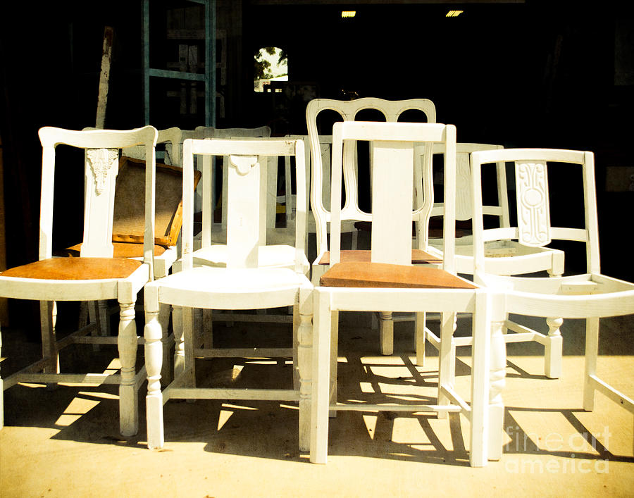 Chairs Photograph - Chairs In White by Sonja Quintero