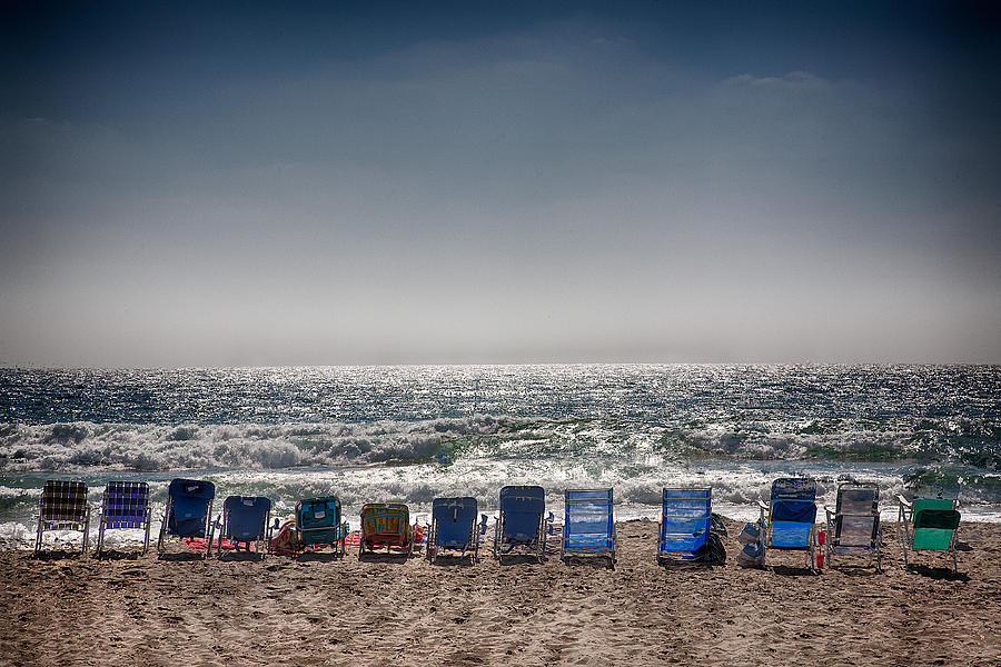 Beach Photograph - Chairs Watching The Sunset by Peter Tellone