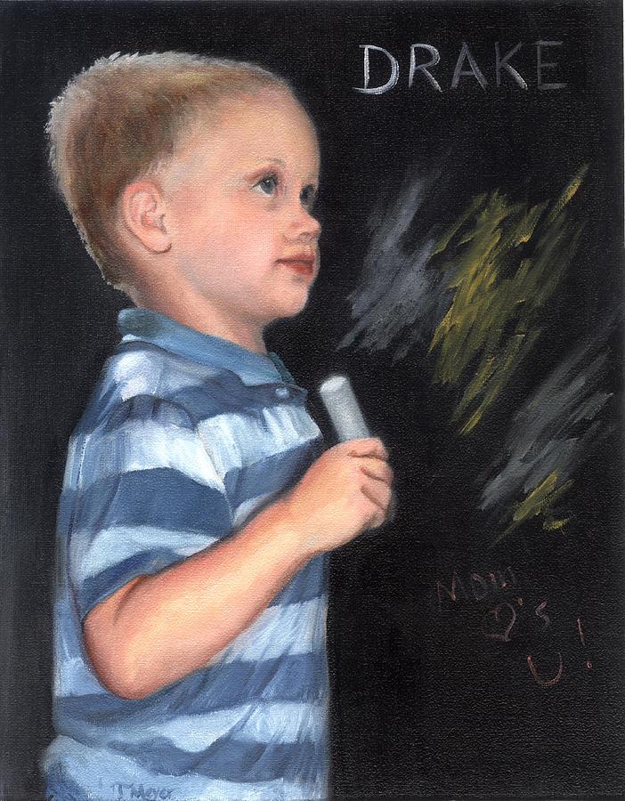 Chalk Talk - Mom Loves U Painting by Terri  Meyer