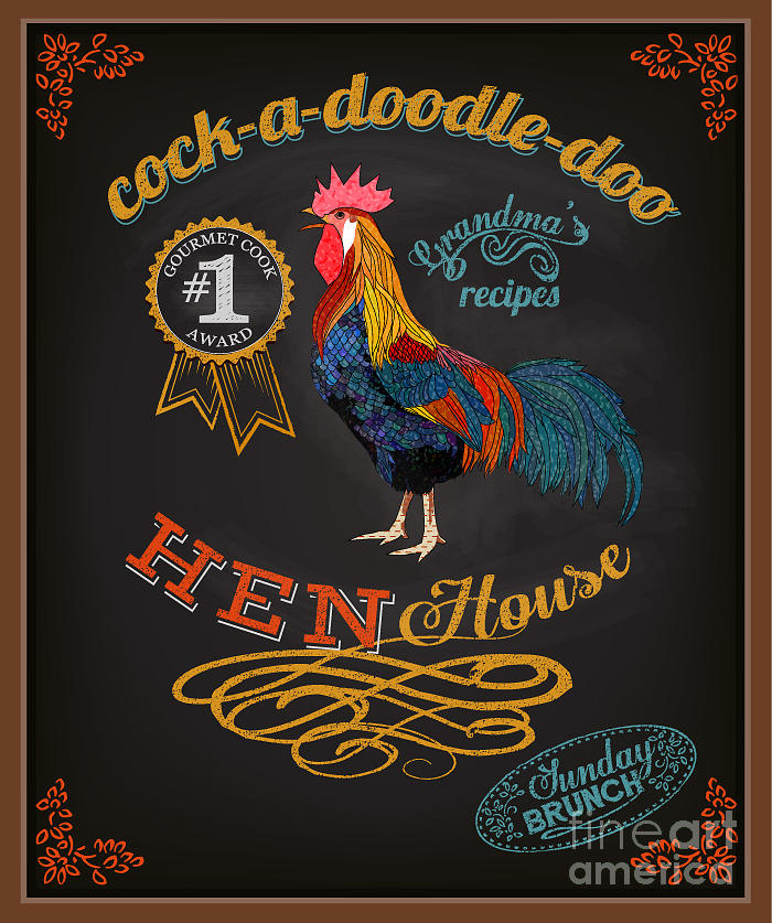 Chalkboard Perfect for Farms Restaurants Small Cockerel Blackboard Chicken