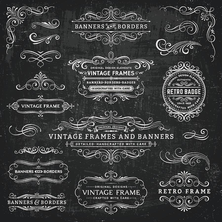 Chalkboard Vintage Frames, Banners and Badges Drawing by Aleksandarvelasevic