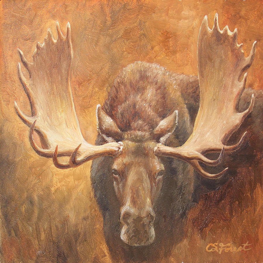 Bull Painting - Bull Moose - Challenge by Crista Forest