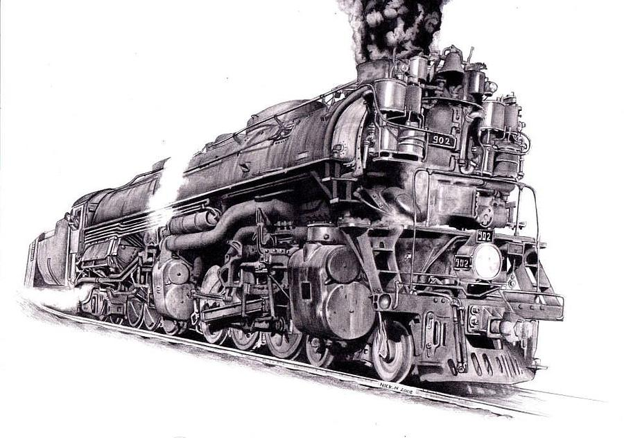 Challenger Locomotive Drawing by Nick Naethuijs