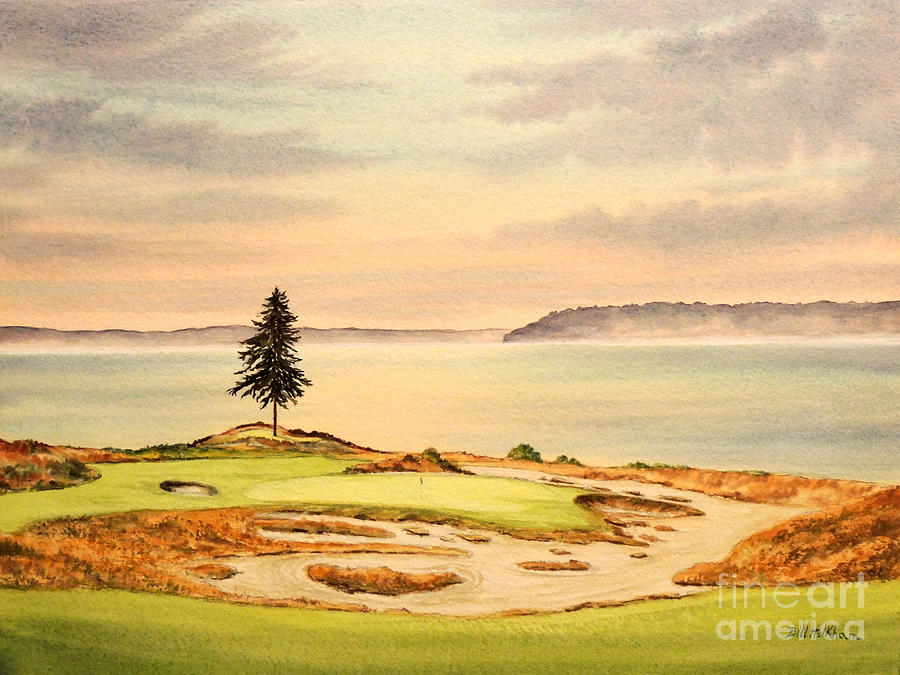 Chambers Bay Golf Course Painting - Chambers Bay Golf Course Hole 15 by Bill Holkham