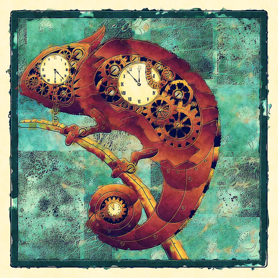 Brown  Digital Art - Chameleon - Aff01a by Variance Collections