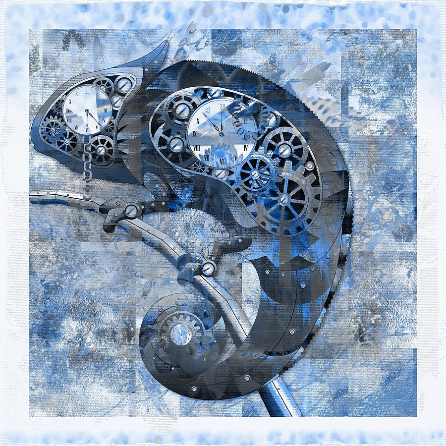 Blue Digital Art - Chameleon - Blue 01b02 by Variance Collections