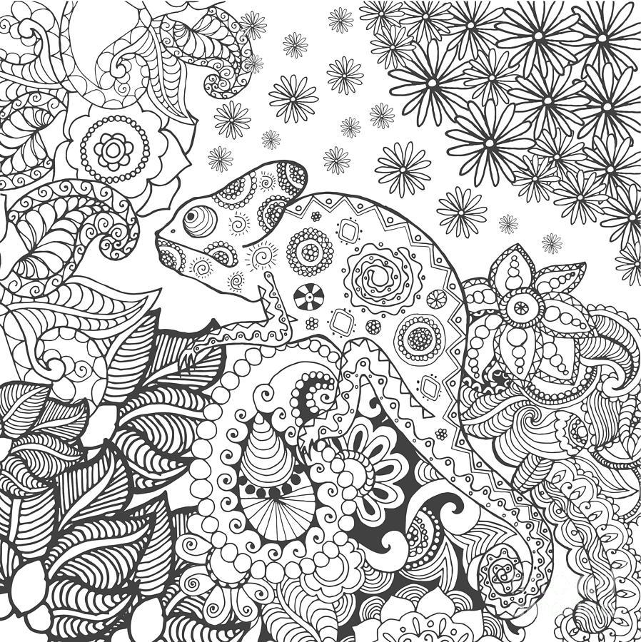Symbol Digital Art - Chameleon In Fantasy Forest. Animals by Palomita