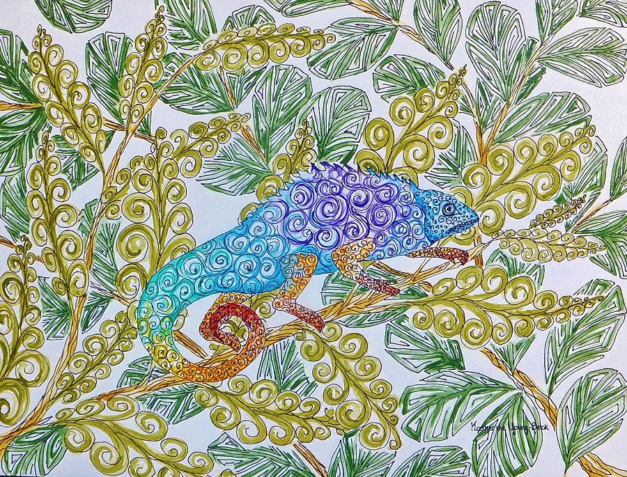 Print Painting - Chameleon by Katherine Young-Beck