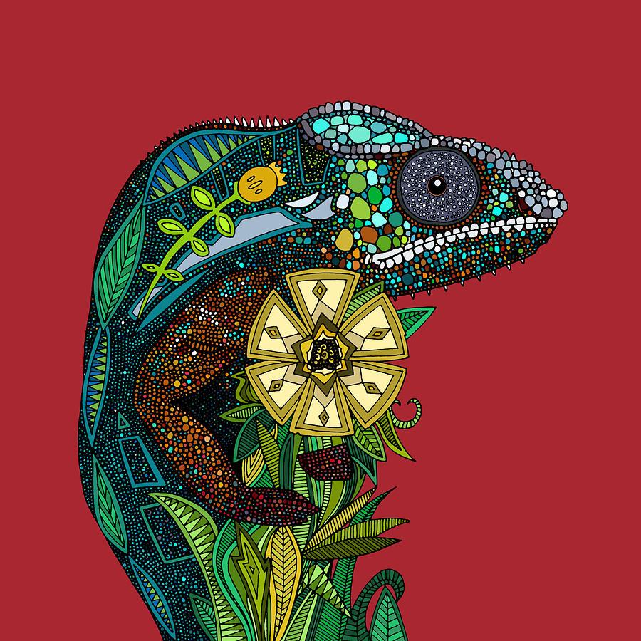 Uncategorized Chameleon Drawings chameleon red drawing by sharon turner turner