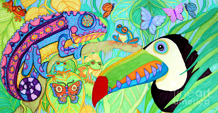Chameleon And Toucan Drawing