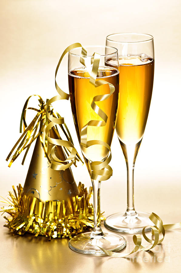 Champagne Photograph - Champagne And New Years Party Decorations by Elena Elisseeva