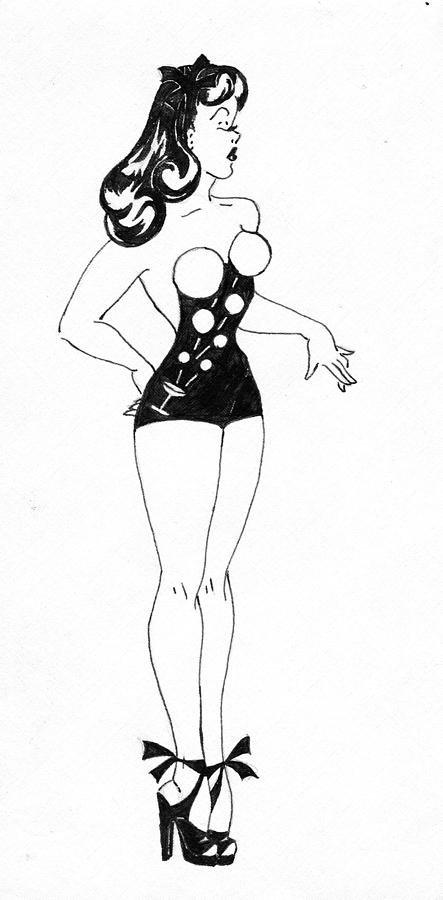 Pin-up Drawing - Champagne by Beverly Solomon Design